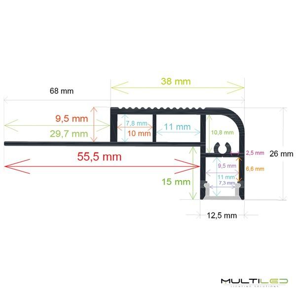 Baliza empotrable de pared Led negro 2W IP65 Exterior AC 220V Blanco Cálido