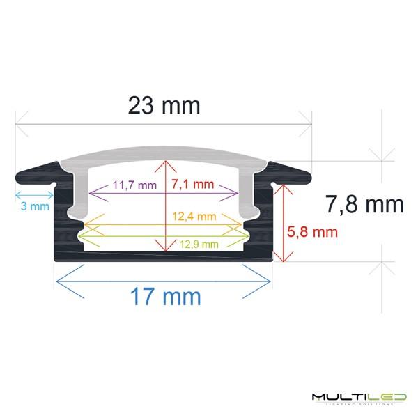Baliza empotrable de pared Led negro 2W IP65 Exterior AC 220V Blanco Frío